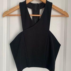 Express Black Crop Top w/ Zipper Back